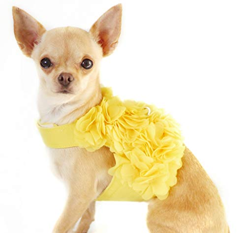 Dashin' Dogz Floral Yellow Dog Harness and Matching Leash Set for XSmall and Small Breeds Like Chihuahua, Yorkys, Teacup Breeds
