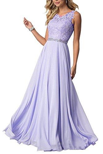 Beyonddress Damen Chiffon Spitze Abendkleider Elegant Brautkleid Festkleid Ballkleider(Lavendel Lang,42)