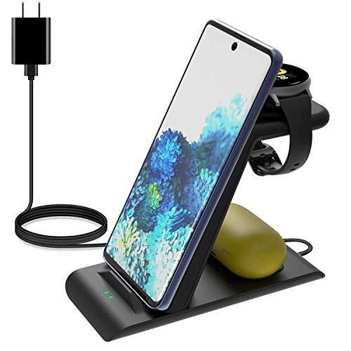 【1年保証】GOSETH Qi ワイヤレス 充電器 3 in 1 Compatible with Galaxy Watch 3 45mm/41mm,Galaxy Watch 46mm/42mm/Active 40mm/Active2 44mm/40mm,Galaxy Buds/Buds+/Live;Galaxy bean/Galaxy Note 20/Ultra Fold 2 Z Flip/S20/;iPhone12/12 Pro/12 Pro Max/12 mini/SE 2020/11 pro/11/Xs/XsなどのQi対応機種 QC 3.0アダプター付き 10W 7.5W 5W 広い範囲に充電(ブラック)