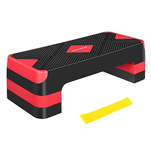 SONGMICS Escalón de Fitness con Banda de Resistencia, Plataforma de Altura Ajustable (10 15 20 cm), Tabla de Ejercicio, para Fitness en Casa y en la Oficina, Negro y Rojo STE684R01