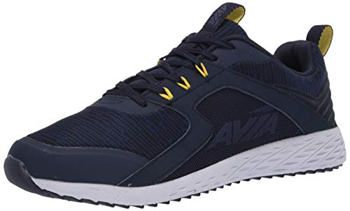 Avia mens Lifestyle Sneaker, Peacoat/Blueprint/Blazing Yellow, 8 US