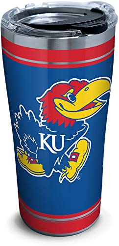 Tervis Kansas Jayhawks Campus Stainless Steel Insulated Tumbler with Clear and Black Hammer Lid, 20 oz, Silver