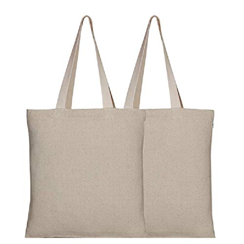 Eono Women's Tote Bags, Reusable Shopping Bags, Recycled Cotton Grocery Bags, Gift Tote Bag, Beach Bag, Book Bag | Natural | Pack of 2 | 0401