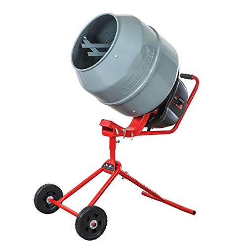 XtremepowerUS 550W Portable Electric Concrete Mixer Cement Mixing Barrow Machine Mixing Mortar Handle with Wheel (4.6 cu/ft.)