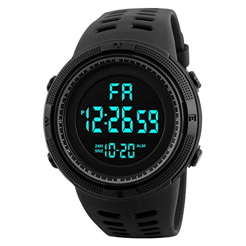 Reloj electrónico Deportivo Multifuncional Impermeable, Pantalla Grande Negra ZGNB (Negro)