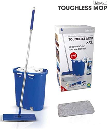 LIVINGTON Mediashop Touchless Mop Deluxe inkl. 7 Liter Doppelkammer-Eimer-System, für alle Arten von Böden: Fliesen, Parkett, Linoleum, Laminat   XXL