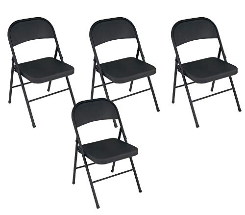 Cosco Black, Steel Folding Chair, 4 Pack