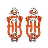 Garneck Tacos de Hielo Crampones Botas Zapatos Mujeres Hombres Niños 18 Clavos Inoxidables Tacos de Tracción Pesca Senderismo Caminar Montañismo Escalada Suministros (Naranja M)