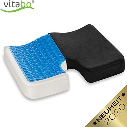 Vitabo Orthopädisches Steißbein Sitzkissen - Steißbeinkissen mit Gel-Schicht zur Rückenentlastung Druckentlastung I schmerzlindernd, ergonomisch und extra dick (Schwarz)