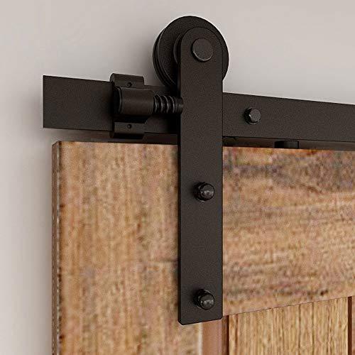 CCJH 200 cm Schiebetürsystem, Eisenwaren-Set, Schienen-Set für Schiebetür, Schwarz I-Form