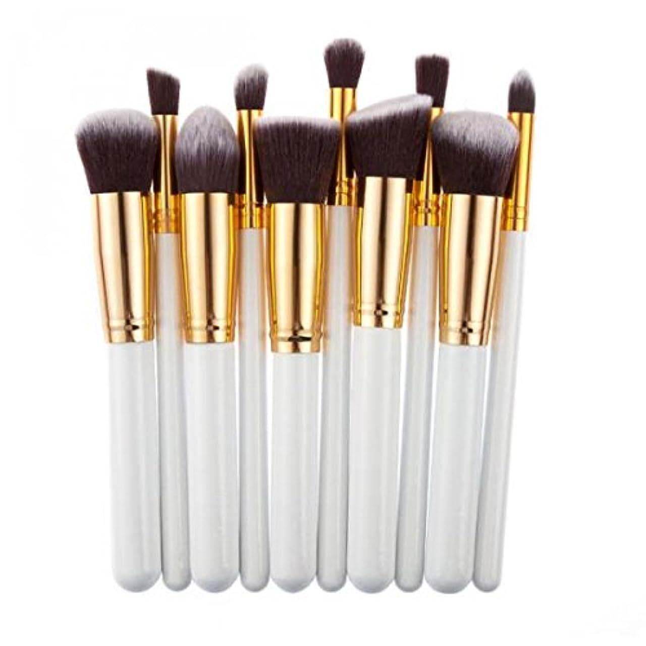 すり減る宣言いつでもCUTICATE 化粧ブラシ メイクブラシ 10本セット ファンデーションブラシ コンシーラーパレット プロ用 6色選べる - 白ゴールド