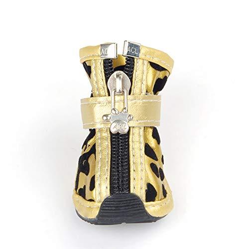 Weiche untere Anti-Schlitten-Schlittenschuhe Gold Silber Pu Haustier Schuhe Persönlichkeit Leopard Tatttoo Cool Dog Schuhe,Gold,L