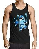 A.N.T. Mega Mini Camiseta para Hombre T-Shirt Videojuego Man Bloque, Talla:XL, Color:Azul