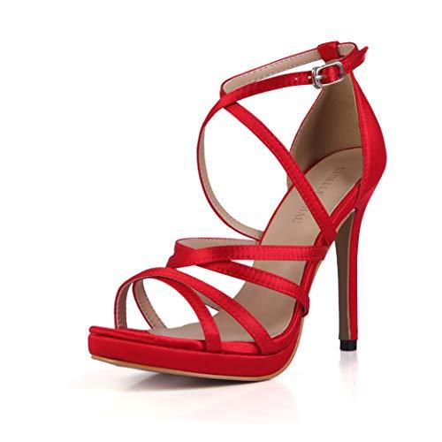 CHMILE CHAU-Zapatos para Mujer-Sandalias de Tacon Alto de Aguja-Elegantes-Novia-Boda-Nupcial-Vestido de Fiesta-Correa de Tobillo-Plataforma 1cm (Ropa)