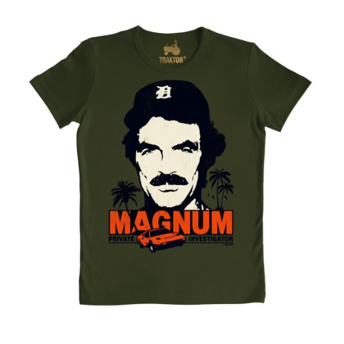80s Magnum P.I. Slim Fit Dark Green T-shirt for Men, XS to M