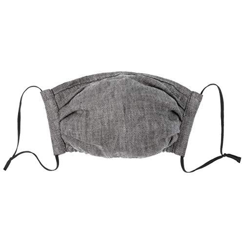 Stetson Atemmaske Leinen Herringbone Damen/Herren - aus Baumwolle - mit Stretchband am oberen Rand - Innenseite mit Tasche aus Polyester zur Einlage von Taschentuch/Filter - One Size