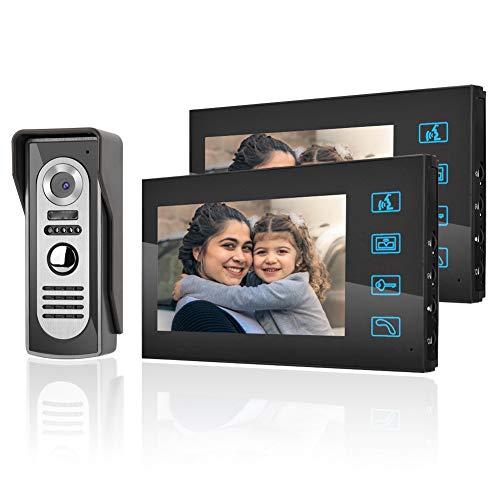 Dioche Videoportero 2 Hilos, Videoportero con Cables de 7 Pulgadas LCD Intercomunicador, Timbre con Visión Nocturna, 16 Tonos de Llamada para el Hogar, la Oficina (US Plug