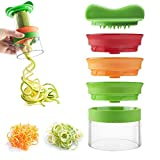 MUFENA Cortador de verduras de mano Spiralizer,Cortador de cortador de verduras de mano de 3 cuchillas,Fideos de calabacín y pasta vegetariana y espaguetis Maker