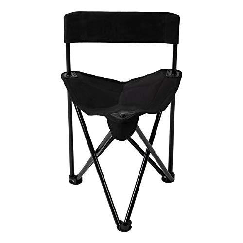Pacific Pass Folding Tripod Chair Lightweight Portable Camping Chair Easy Carried Sports Camp Chair with Carry Bag for Camping, Fishing, Hiking, Outdoor, Hunting, Black, Middle