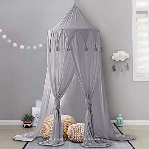 Dix-Rainbow Bed Canopy Lace Mosquito Net Unique Pendant Play Tent Bedding for Kids Playing Reading with Children Round Dome Netting Curtains Baby Boys Girls Games House - Gray