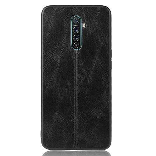 HAOYE Hülle für Oppo Realme X2 Pro Ultra-Slim Silikon Hülle Cover, Leder-Erscheinungsbild Retro Hülle, Dünne Handyhülle Schutzhülle, Stoßfeste Etui Handy-Tasche Backcover Bumper, Schwarz