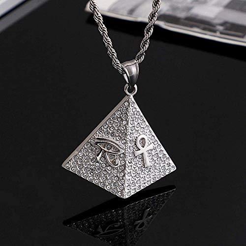 NC110 Collar con Colgante de Hip-Hop con Personalidad Europea y Americana para Hombres con Micro Incrustaciones de circón pirámide Ojo de Horus joyería Colgante YUAHJIGE