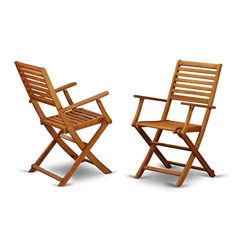 Solid Acacia Wood Outside patio Folding Chair With Arm Rest -Set of two