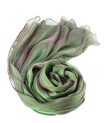 prettystern Damen 200cm 2-farbige Changierend Seiden-taft Langer Seidenschal Abendmode 44. lia Grün