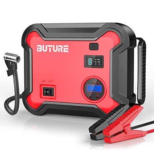 BuTure Booster Batterie et Compresseur d'air Portatif 2500A, 23800mAh Démarreur de Voiture (Tout Gaz ou 8,0 L Diesel), Gonfleur Electrique 150 PSI, 120W Sorties DC et Lumière d'urgence
