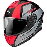 MT Helmets - Casco Integral FF106 Targo Pro Sound (A5 Gris/Rojo, L)