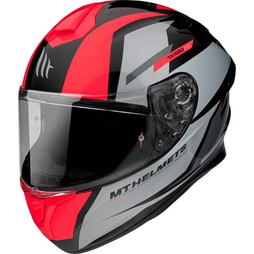 MT Helmets - Casco Integral FF106 Targo Pro Sound (A5 Gris/Rojo, S)