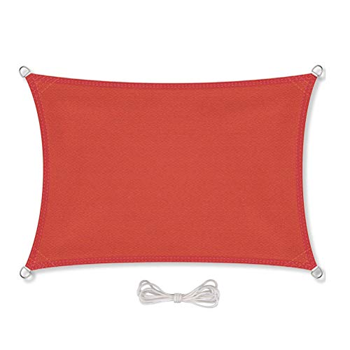 Parasol rectangular para exterior, sombrilla, impermeable, para patio, toldo de bloque UV, estándar comercial personalizado, para jardín, patio, poliéster, rojo, 46 x 51 cm