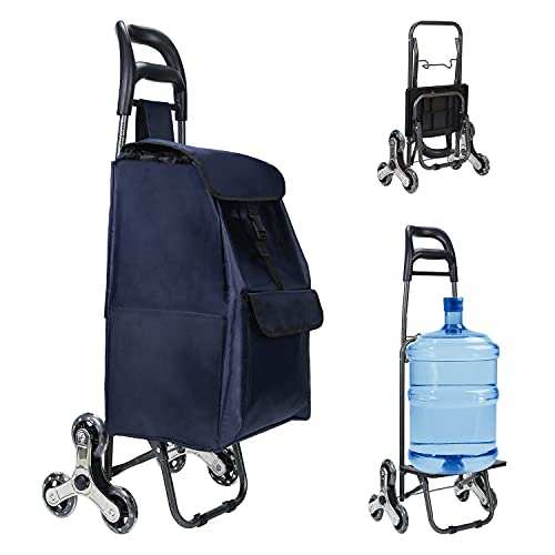 2021 New Foldable Shopping Cart Portable Grocery Cart Utility Lightweight Stair Climbing Cart with Rolling Swivel Wheels and Removable Waterproof Canvas Removable Bag