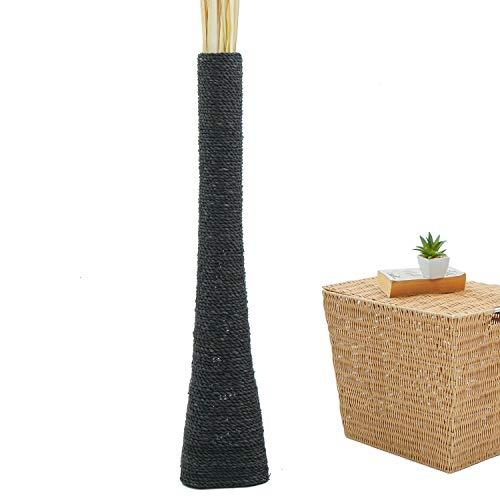LEEWADEE jarrón de Suelo Grande – Florero Alto y Hecho a Mano de Madera exótica y Rafia, Recipiente de pie para Ramas Decorativas, 90 cm, Negro