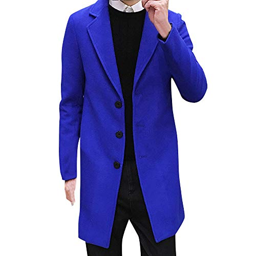 GREFER Clearance Men Formal Single Breasted Jacket New Winter Figuring Trench Overcoat Long Wool Outwear (L, Blue)