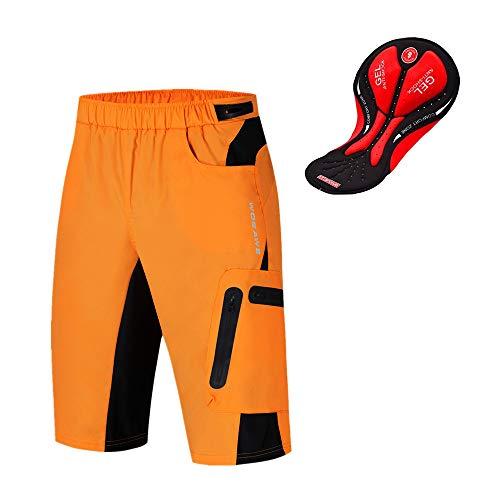 WOSAWE Pantalones Cortos de Ciclismo para Hombre Transpirable Gel 3D Acolchada Sueltos MTB Ropa Interior Pantalones(Naranja XXXL)