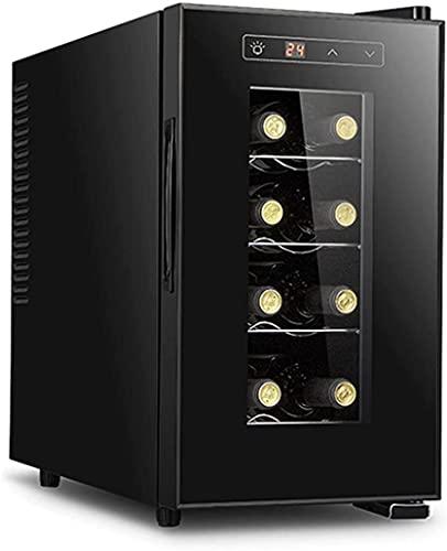 ZHZHUANG Counter Top Wine Cooler, 8 Botella de Vino Refrigerador, Control de Temperatura Táctil Refrigerador de Vino, Nevera de Vino de Champán, Operación Tranquila Bodega, Negro,Negro,26X50X47Cm