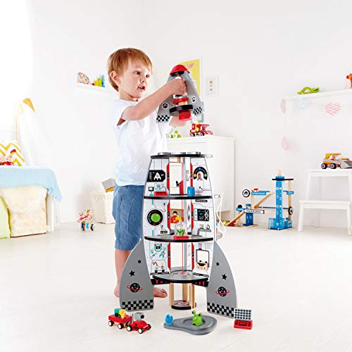 Hape Four-Stage 20 Piece Durable Wooden Rocket and Spaceship Toy for Children, L: 18.8, W: 18.8, H: 29.1 inch