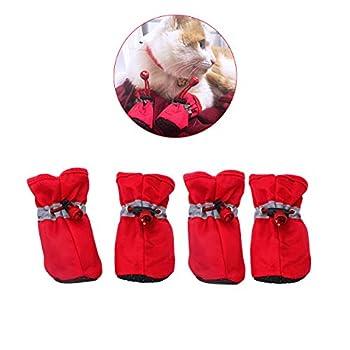 YAODHAOD Dog Boots - Protecteur de Patte, Chaussures de Chien Antidérapantes , Ces Chaussures de Chien Confortables à Semelle Souple sont Dotées de Sangles Réfléchissantes (4, Rouge)