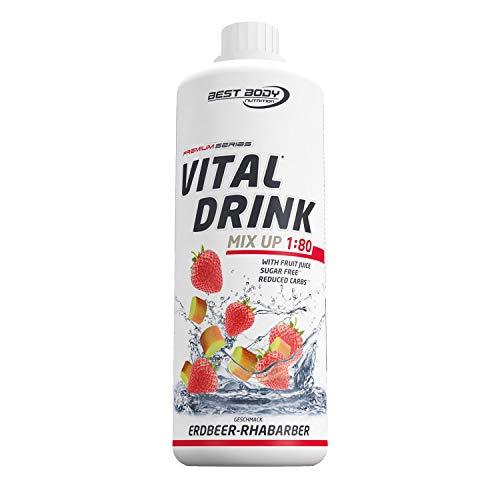 Best Body Nutrition Vital Drink Erdbeer-Rhabarber, Getränkekonzentrat, 1000 ml Flasche