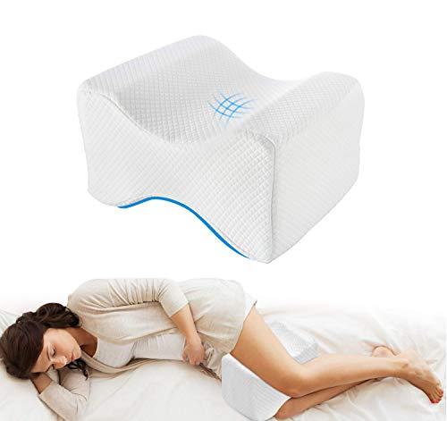 Cuscino per ginocchia per dormire, Cuscini per gambe ortopedico con schiuma memory per traversine laterali, cuscino per supporto per ginocchio per sciatico gamba schiena alleviare il dolore bianco