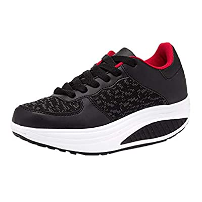 RAINED-Women Mesh Sneakers Lace Up Breathable Sport Shoes Running Platform Sneakers Athletic Fitness Cross Training Shoes