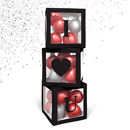 BaraBox Balloon Box I LOVE YOU (Black) Valentine Decorations For Home. 2020 Popular Wedding, Romantic and Valentine day Decor!