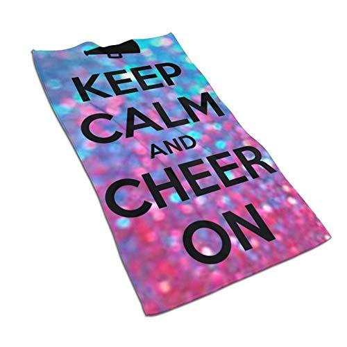 XCNGG Keep Calm and Cheer On Toalla de Cocina Toallas de Mano Personalizadas Toallas absorbentes Impresas para Platos Toalla de Microfibra para Gimnasio Toalla de té Toalla para Dedos 27.5x15.7in