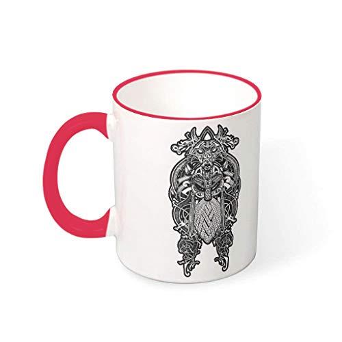 Relaxident Taza de café Viking Odin duradera cerámica personal moderno – tazas para Lounge red1 330ml