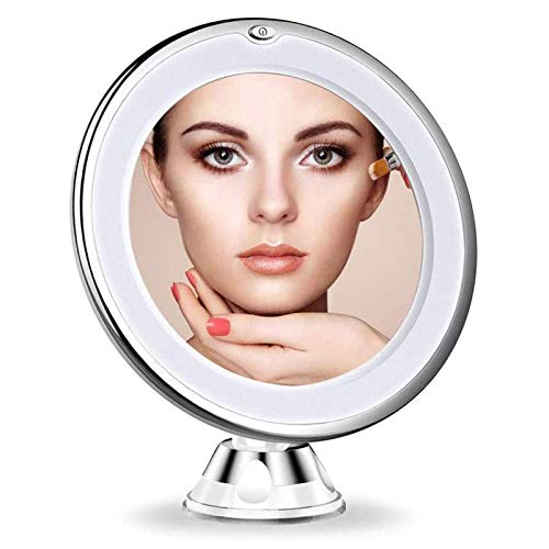 GaoF Espejo de Maquillaje con Lupa de Viaje con luz LED 10X...