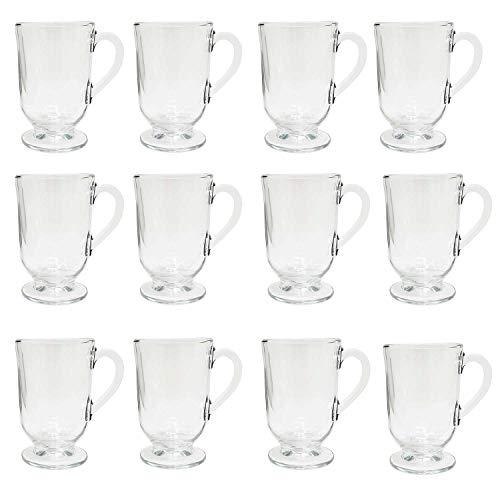 Irish Coffee Glass Mugs Footed 10.5 oz.Thick Wall Glass For Coffee, tea, Cappuccinos, Mulled Ciders,Hot Chocolates, Ice cream and More-Set of 12