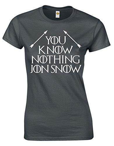 Crown Designs You Know Nothing Jon Snow Fantasie-Tv-Show Inspiriert Geschenk Für Frauen Und Jugendliche Taillierten T-Shirts Tops (Holzkohle/EU - 36-38)