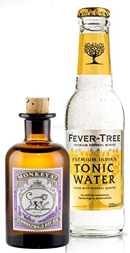 Gin Tonic Probierset - Monkey 47 Schwarzwald Dry Gin 50ml (47% Vol) + Fever-Tree Tonic Water 200ml inkl. Pfand MEHRWEG
