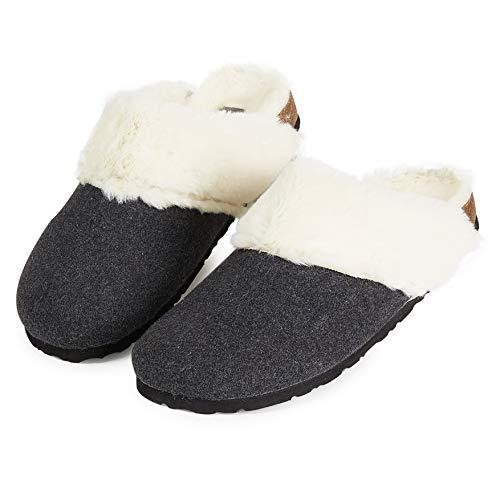 Dunlop Zapatillas Mujer, Zapatillas Casa Mujer con Forro Polar, Pantuflas Mujer Suela de Goma Antideslizante, Regalos para Mujer y Adolescentes Talla 36-41 (Gris Oscuro, Numeric_38)
